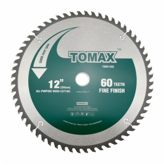 TOMAX 12-Inch 60 Tooth ATB Fine Finish Saw Blade with 1-Inch Arbor