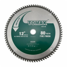 TOMAX 12-Inch 80 Tooth ATB Fine Finish Saw Blade with 1-Inch Arbor