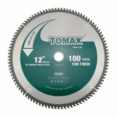TOMAX 12-Inch 100 Tooth ATB Fine Finish Saw Blade with 1-Inch Arbor
